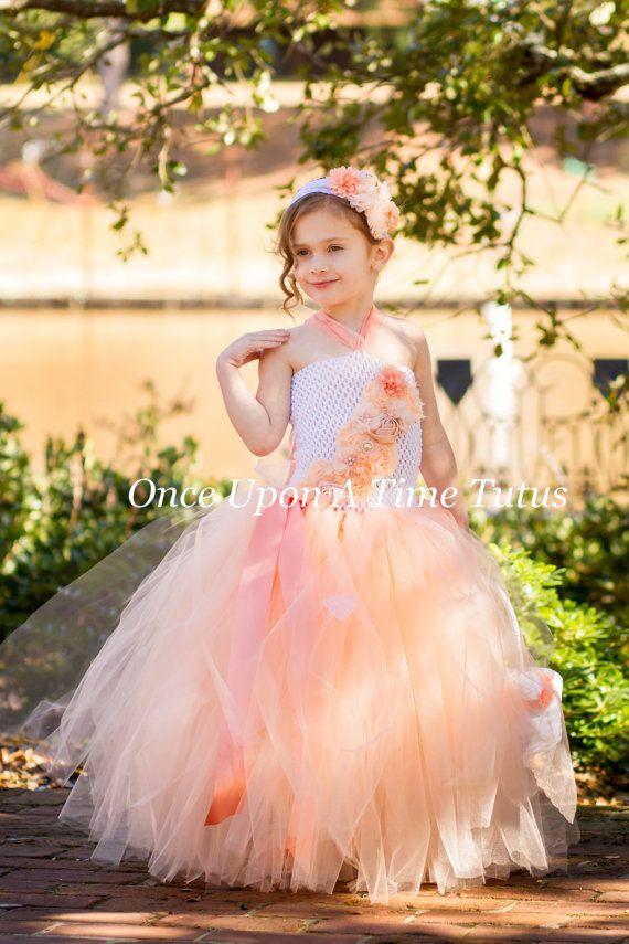 d867cf72824 Peach Flower Girl Tutu Dress - White Spring Photo Prop