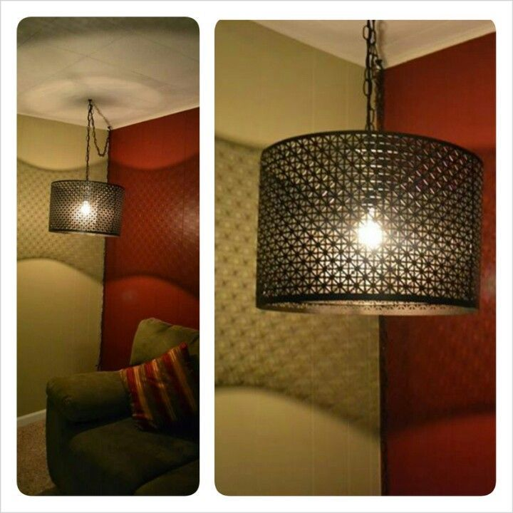 Diy Hanging Metal Lamp With Antique Bulb Made From Decorative Sheet Metal Zip Ties Lamp Shade Rings And A Sag Lamp Chain Kit From Home Depot