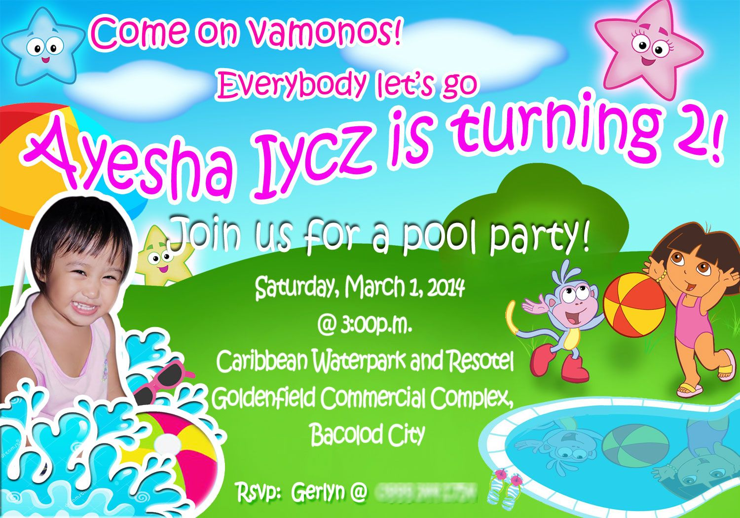 Birthday Invitation Size 3r C Ayesha B Day For Inquiries Please Email Me At Salanapmarkgmail