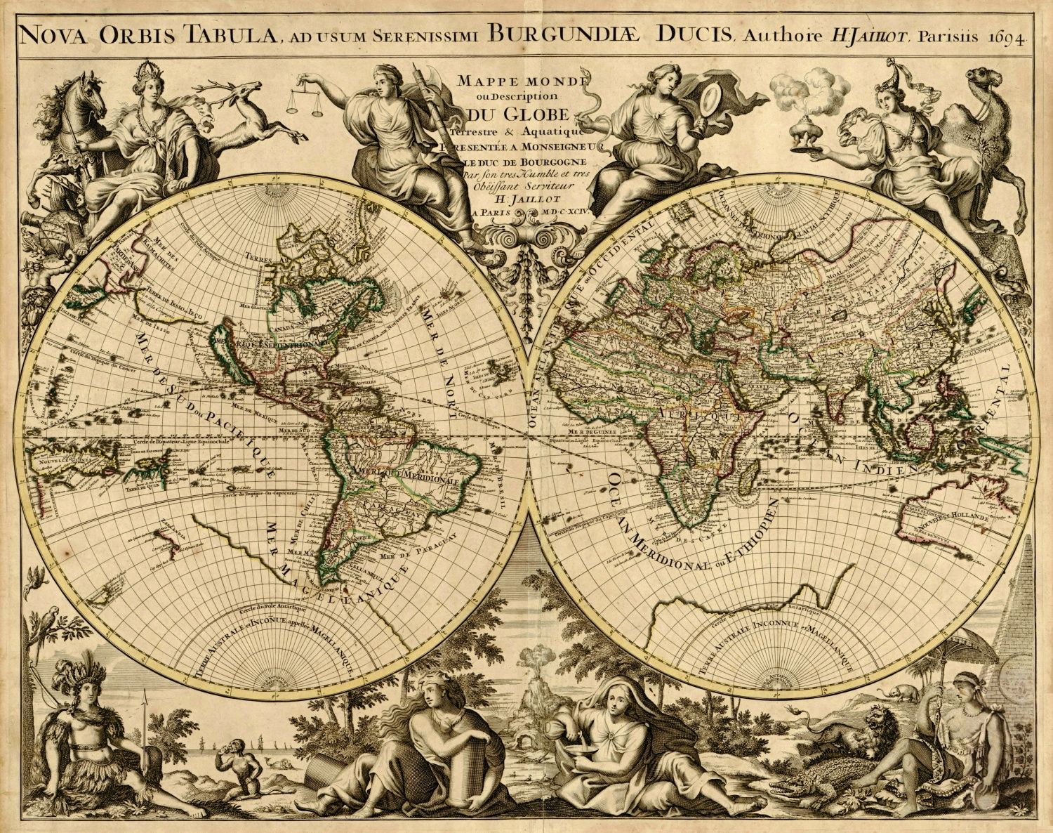 World map by alexis hubert jaillot 1694 graphic pinterest vintage world map by jaillot alexis hubert large by outtakeprints gumiabroncs Gallery