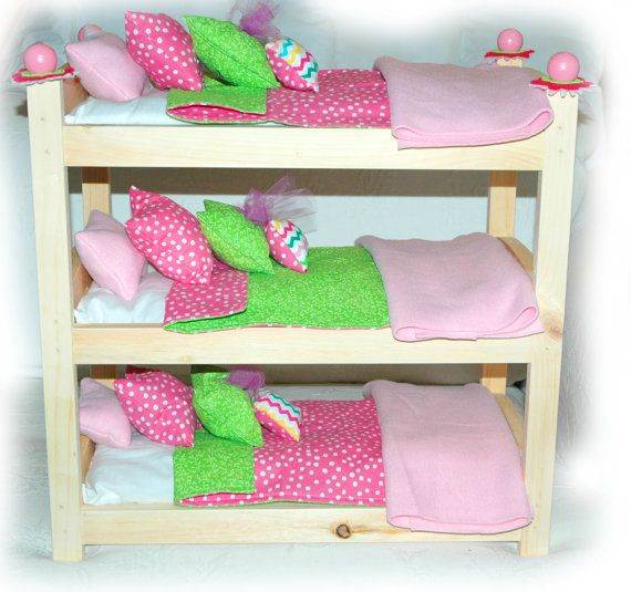 Triple Doll Bunk Bed Customize Cotton Candy American Made Girl