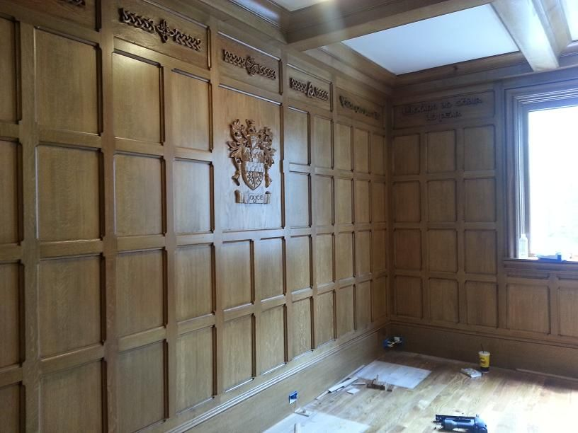 tudor study quartsawn oak paneling detail with carved coat