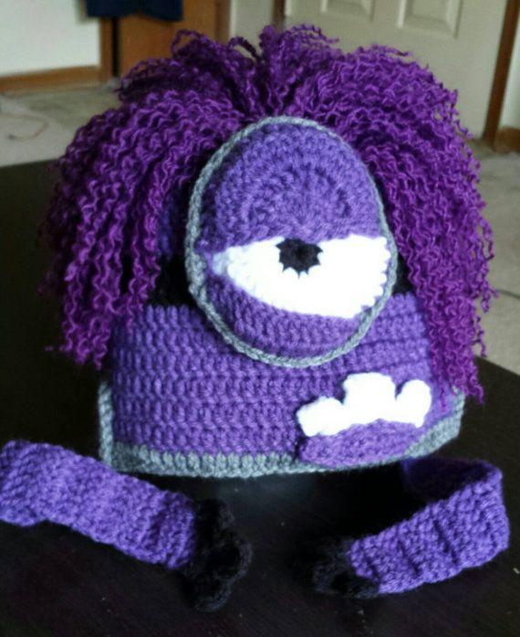 Purple minion hat,purple minion crochet Hat,crochet minion hat ...