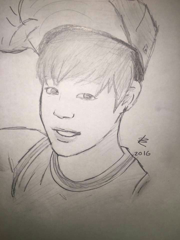 Jimin Drawing Made By My Friend | Bts | Pinterest | Jimin And BTS