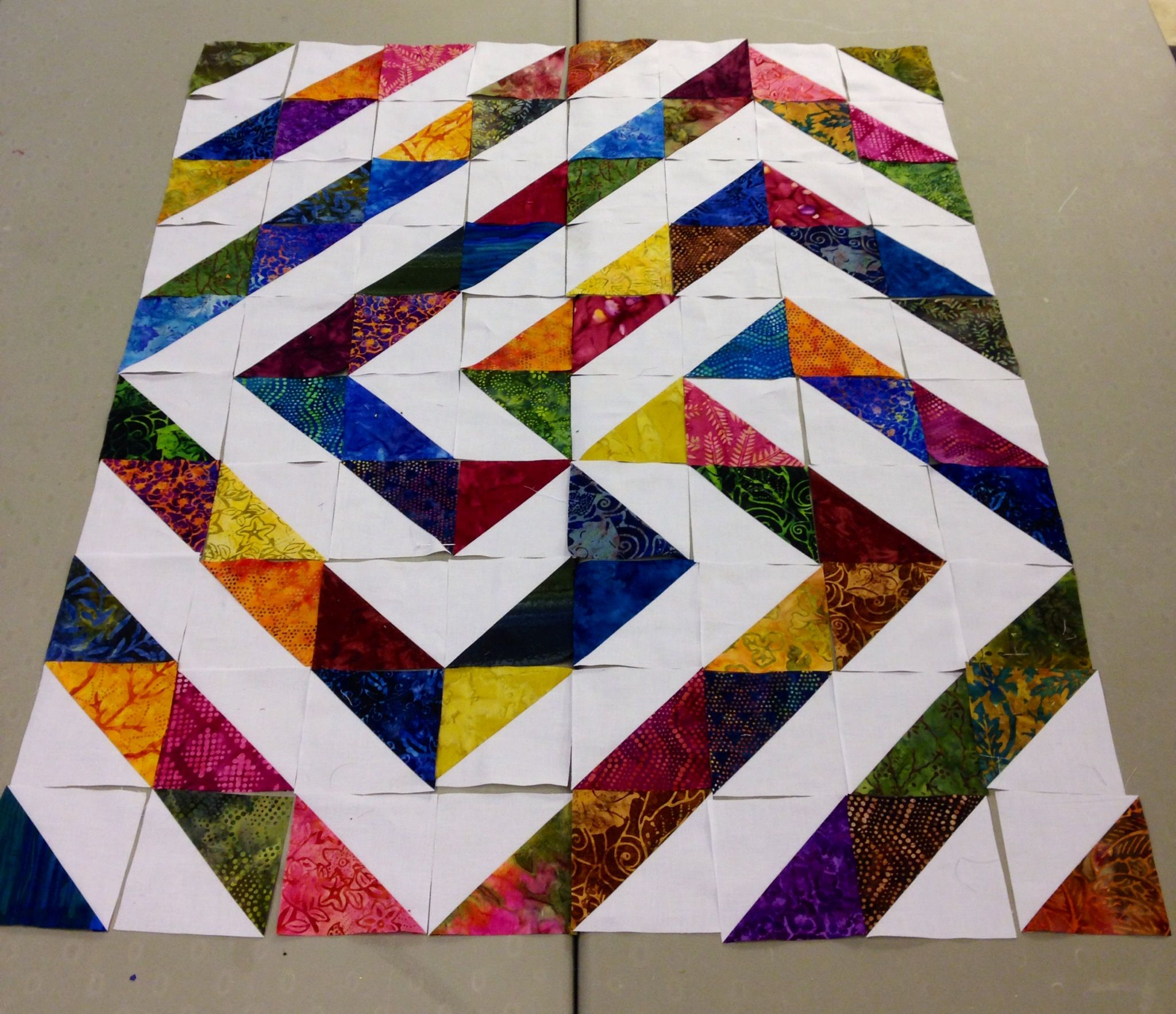 Half square triangle layout--i love this design. My first quilt attempt will be this