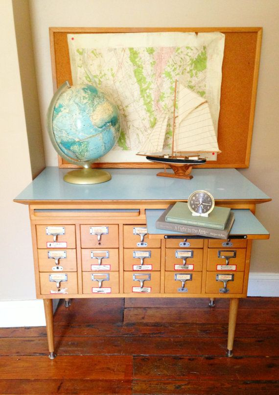 Vintage Library Card Catalog File Cabinet with Blue Top - Vintage Library Card Catalog File Cabinet With Blue Top Vintage