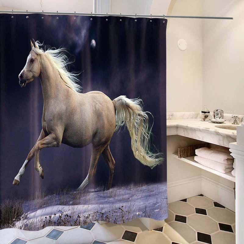 Rideau de douche impression 3d beau cheval pour salle de - Anti moisissure salle de bain ...