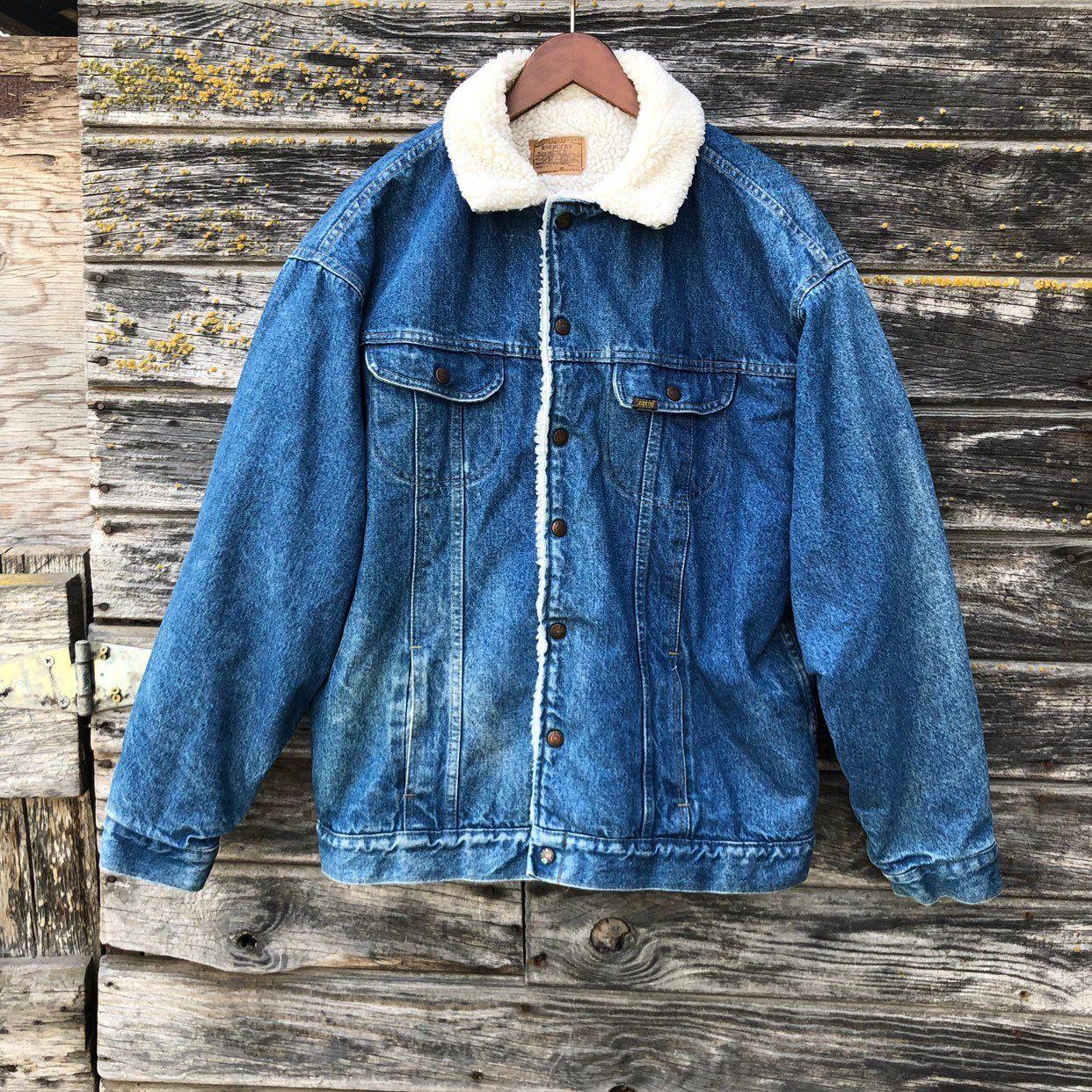 b864f5acfb4 Vintage sherpa denim jacket Sears Roebuck jean jacket faded blue distressed  rustic grunge coat 70s biker western chore jacket men L XL 52