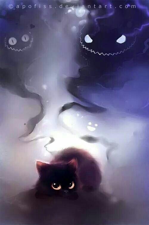 Shoo Evil Spirits No Cute Kitty For You Cat Art Cute Animal
