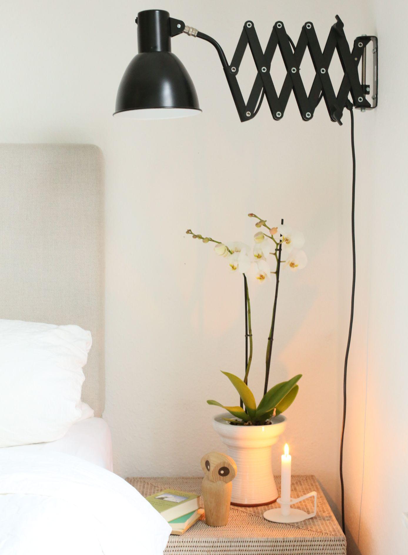 Schlafzimmer, Deko, Scherenlampe, Wandlampe, Eule, Ikea, Bett
