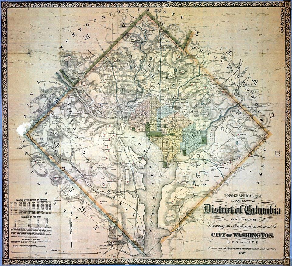 Map Of Washington DC Showing Original Boundaries Dead - Washington dc map conspiracy