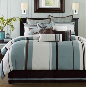 Blue And Brown Bedroom Set bedspreads comforters queen on blue and brown striped bedding blue