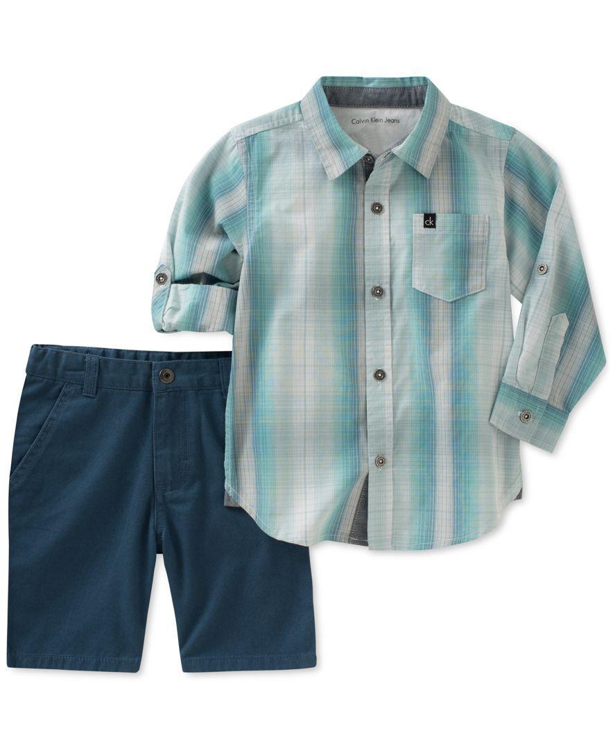 32d90efa Calvin Klein 2-Pc. Plaid Woven Cotton Shirt & Shorts Set, Little Boys (4-7)