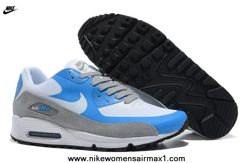 7208ac674a New Nike Air Max 90 Hyperfuse Mens Trainers Premium White Blue Gray Free Running  Shoes