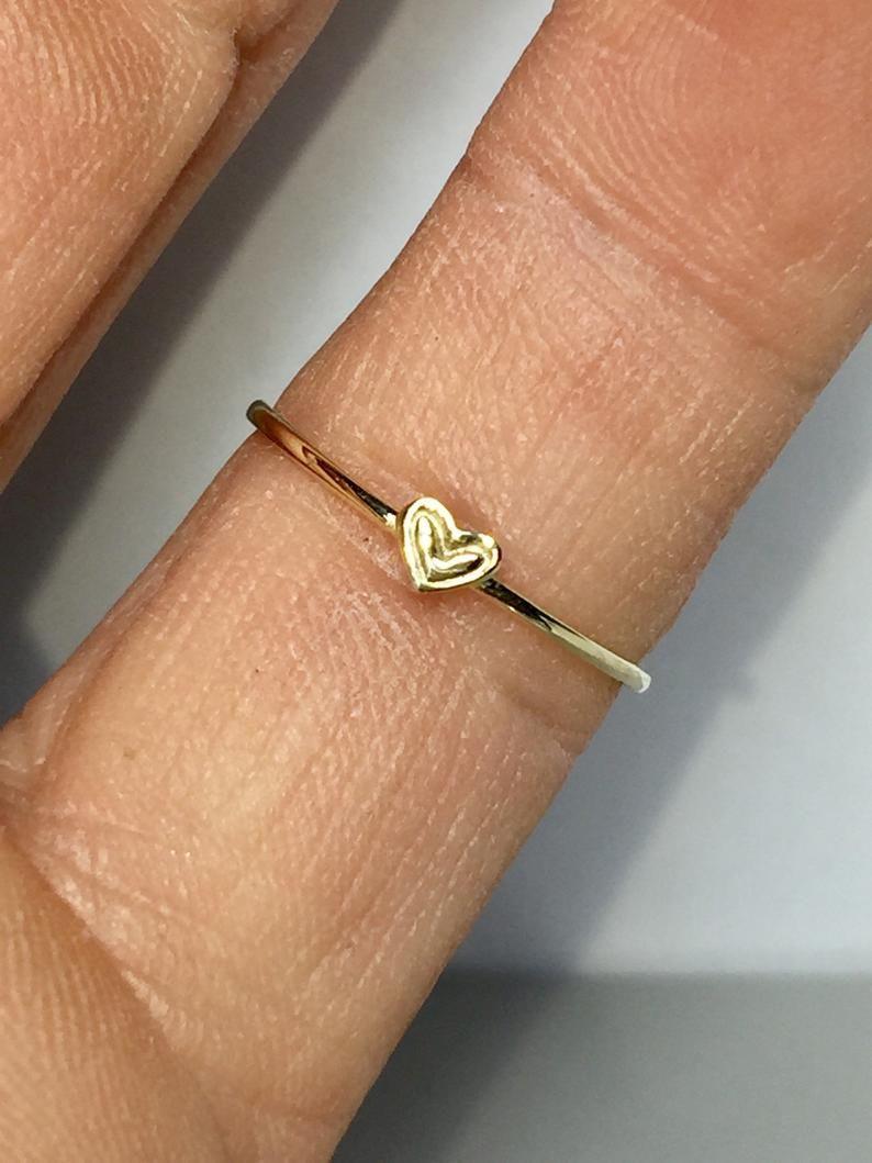 14k 10k Gold Heart Ring Rings For Girls Thin Gold Rings Etsy In 2020 Gold Heart Ring Etsy Gold Ring Rings For Girls