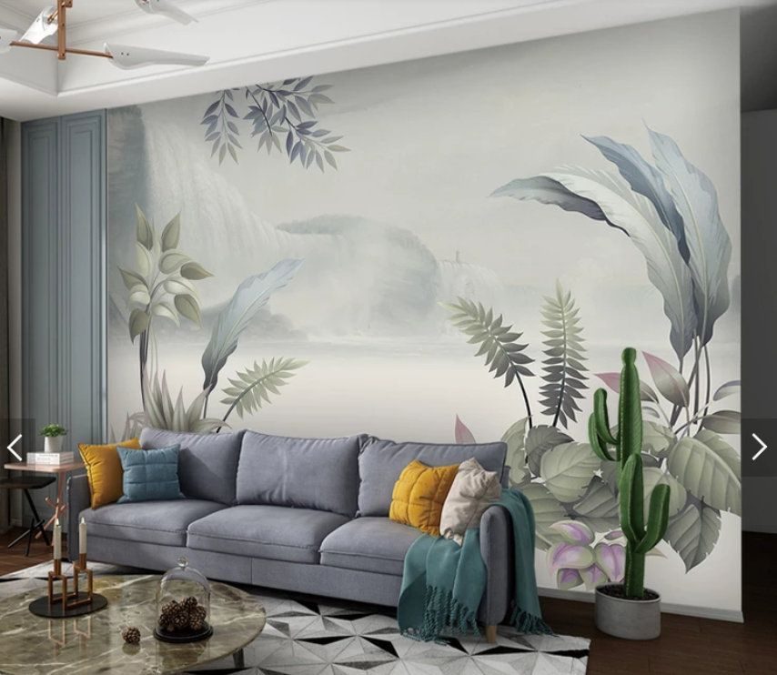 Nordic Tropical Leaf Wallpaper Murals Hand Painting Wall