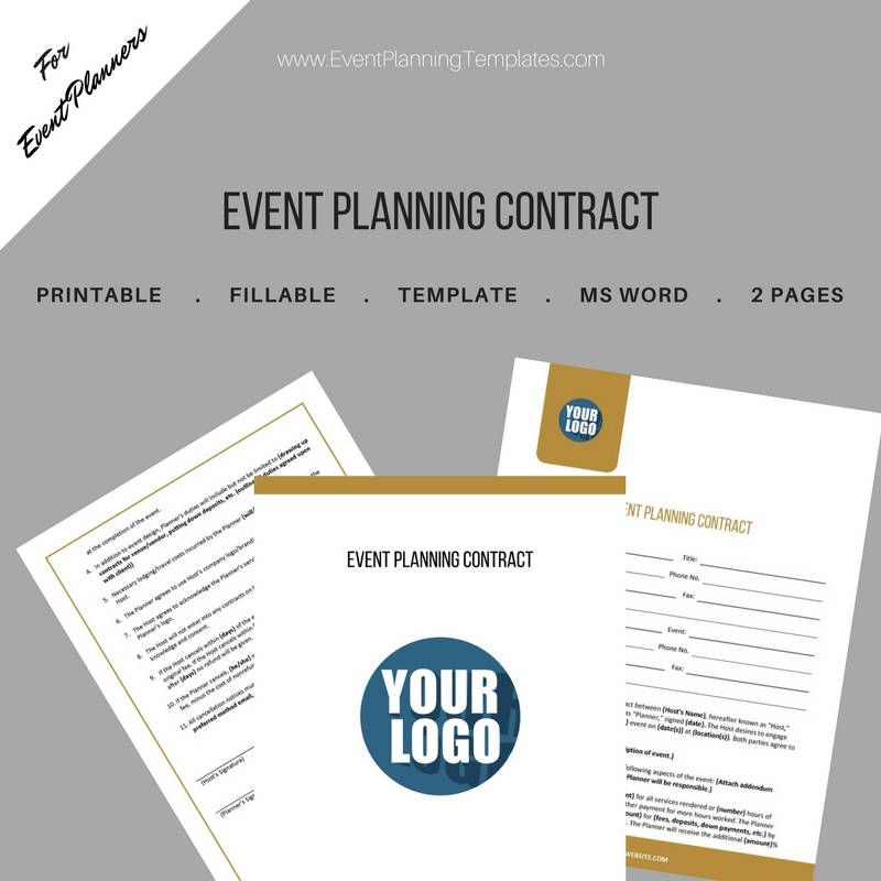 Event Planning Contract for Event and Wedding Planners Printable