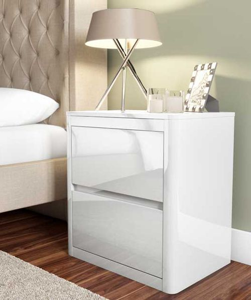 Lexi White High Gloss 2 Drawer Bedside Table From The Uk S Leading Online Furniture And Bed