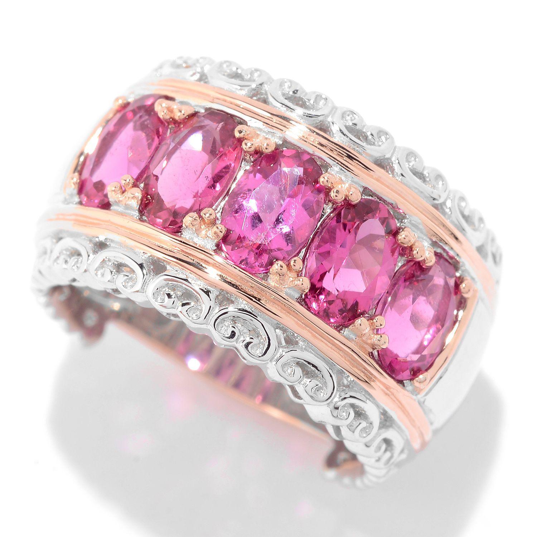 Gems en Vogue 2.35ctw Rubellite Five-Stone Band Ring