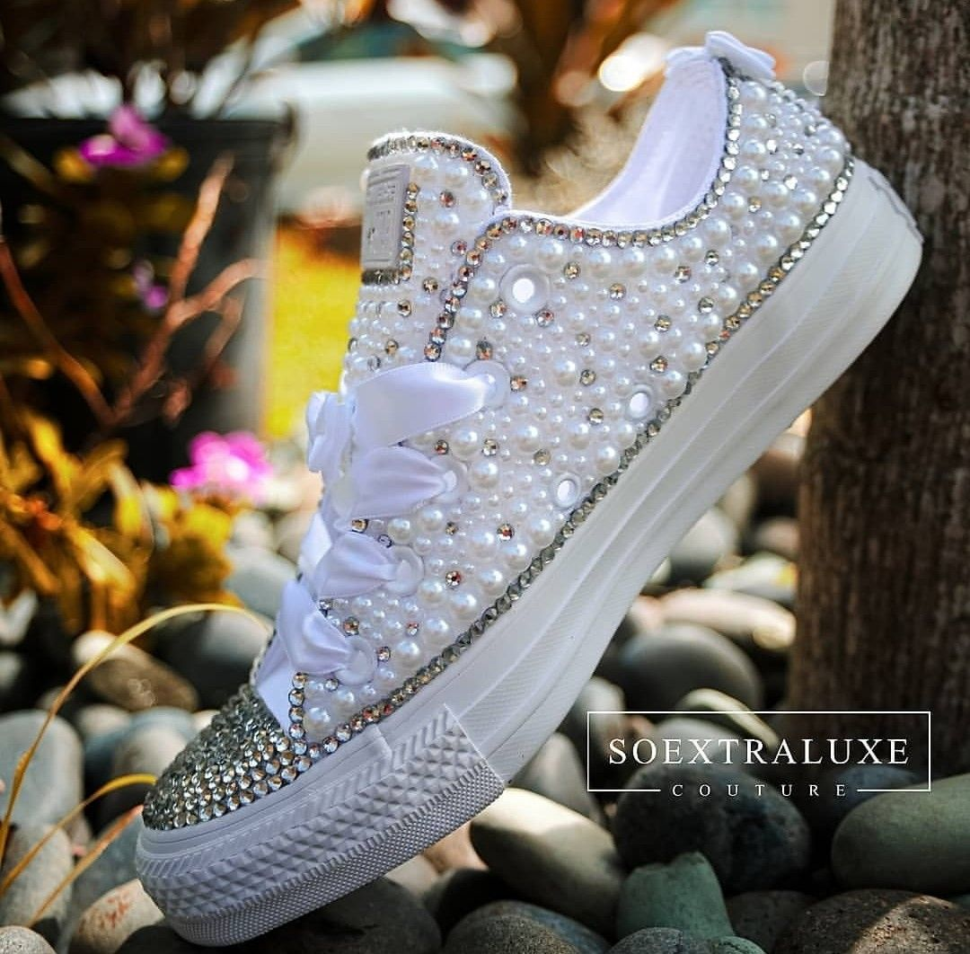 Pearly White and Crystal Low Top Luxe Converse in 2020 (With
