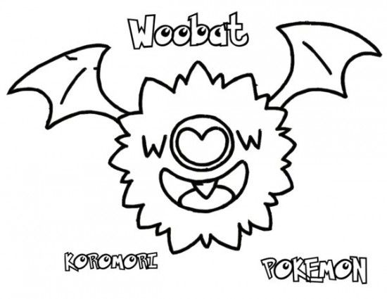 Pokemon Woobat Coloring Pages Pokemon Coloring Pages Pinterest