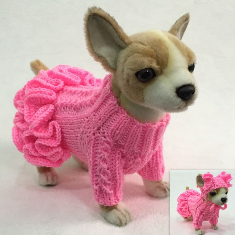 bcf353e3961 Handmade Knit Clothes Ruffled Sweater Dress and Hat for Dogs   Pets ...