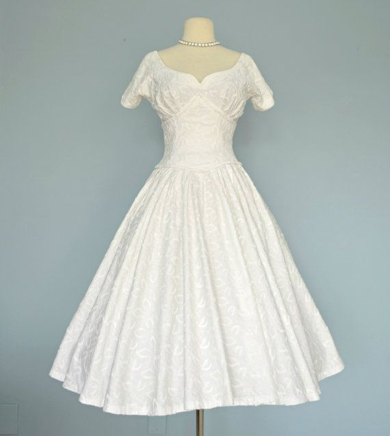 RESERVED 1950s Tea Length Wedding Dress...SUZY PERETTE White Cotton ...