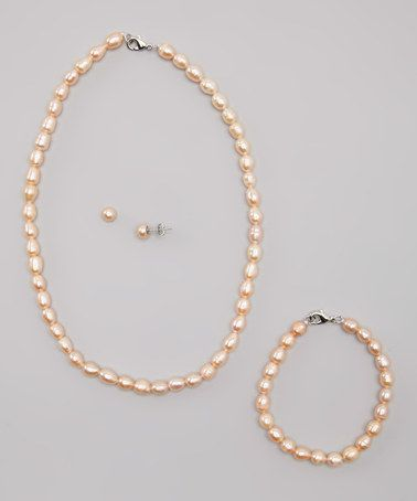 Loving this Pink Rice Pearl Necklace Set on #zulily! #zulilyfinds