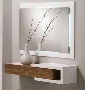 Espejos con panel y estante linea minimalista ideas for Espejos minimalistas