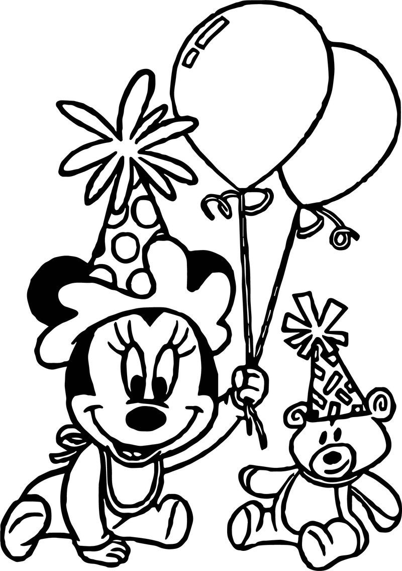 Any Baby Minnie Mouse Birthday Party Coloring Page Birthday Coloring Pages Happy Birthday Coloring Pages Disney Princess Coloring Pages