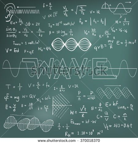 Wave Physics Science Theory Law And Mathematical Formula Equation Chalk Doodle Handwriting And Frequencies Model Icon Physics And Mathematics Physics Science