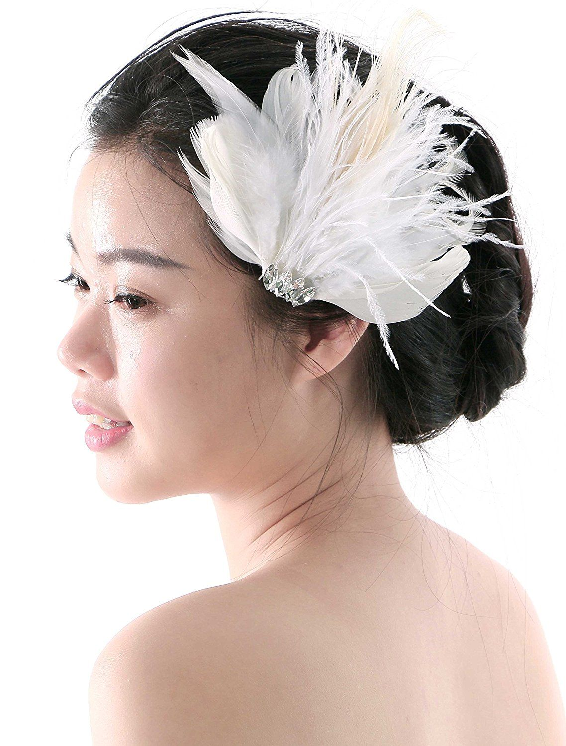 aukmla bridal wedding feather hair accessories and clips for