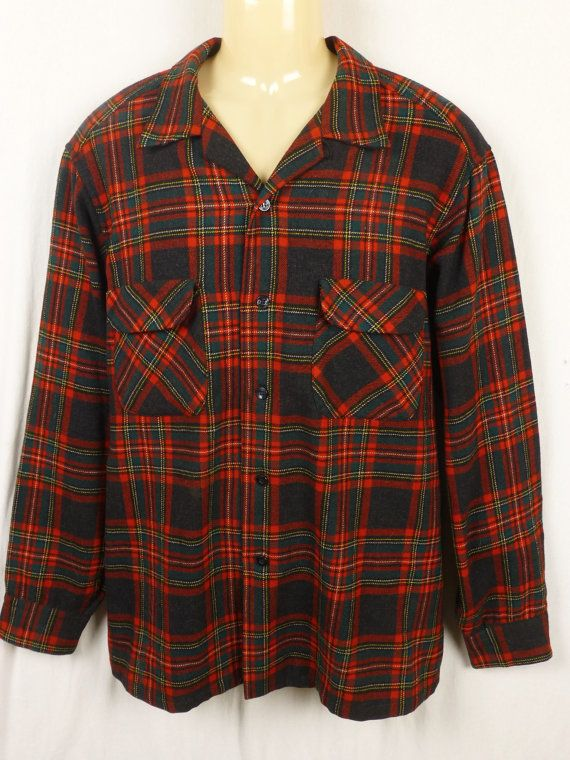 Vintage 1950s Pendleton red wool flannel Shirt Jacket with collar loop srusJf