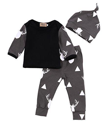 053901c01 Newborn Baby Girl Boy Clothes Deer Tops TshirtPants Leggings 3pcs ...