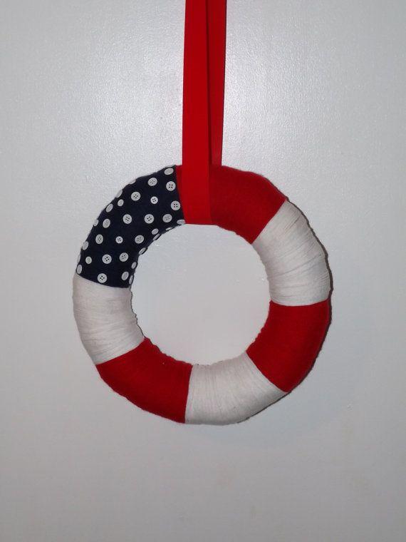 4th of July Yarn Wreath Patriotic Yarn Wreath by NWCreativeCouple