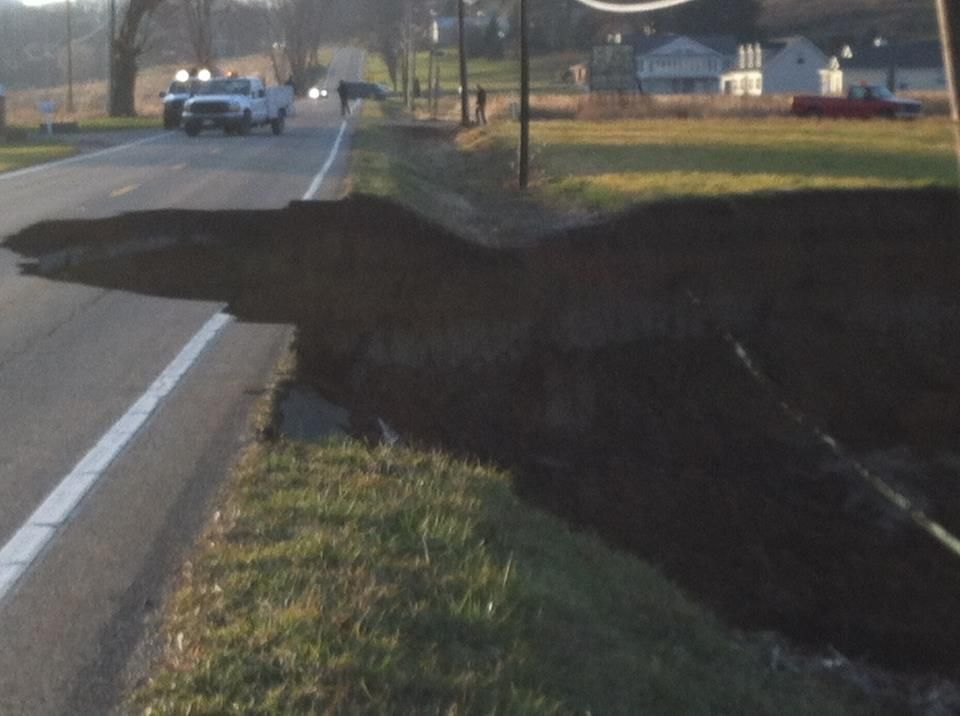 A large sinkhole formed today near dover ohio about 60
