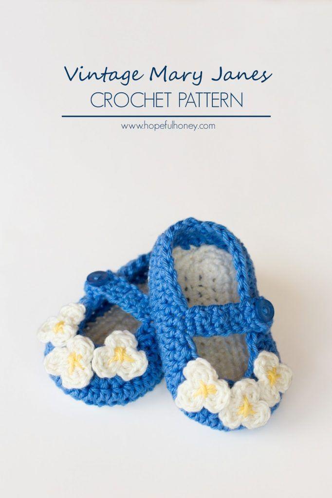 Vintage Mary Jane Baby Booties Crochet Pattern | Zapatitos crochet ...