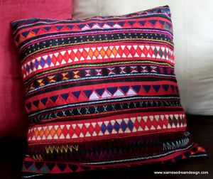 Akha Embroidered Pillow - ohh the colors