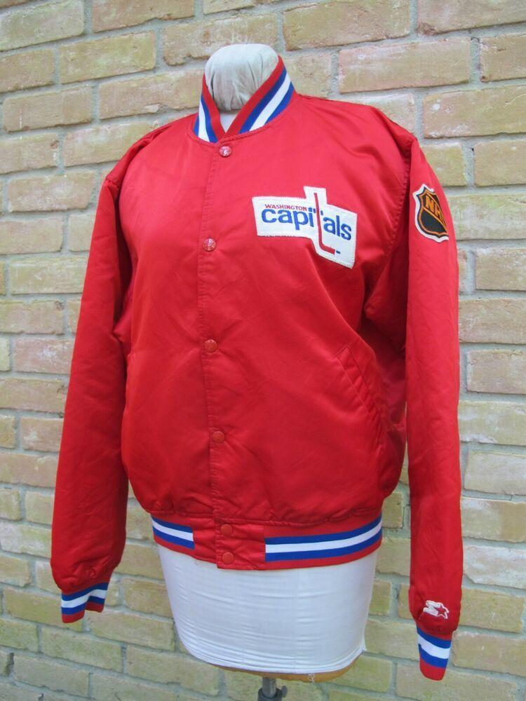Large Vintage Starter Satin Jacket Nhl Washington Capitals Ice Hockey Team Good Starter Washingtoncap Nhl Washington Capitals Ice Hockey Teams Satin Jackets