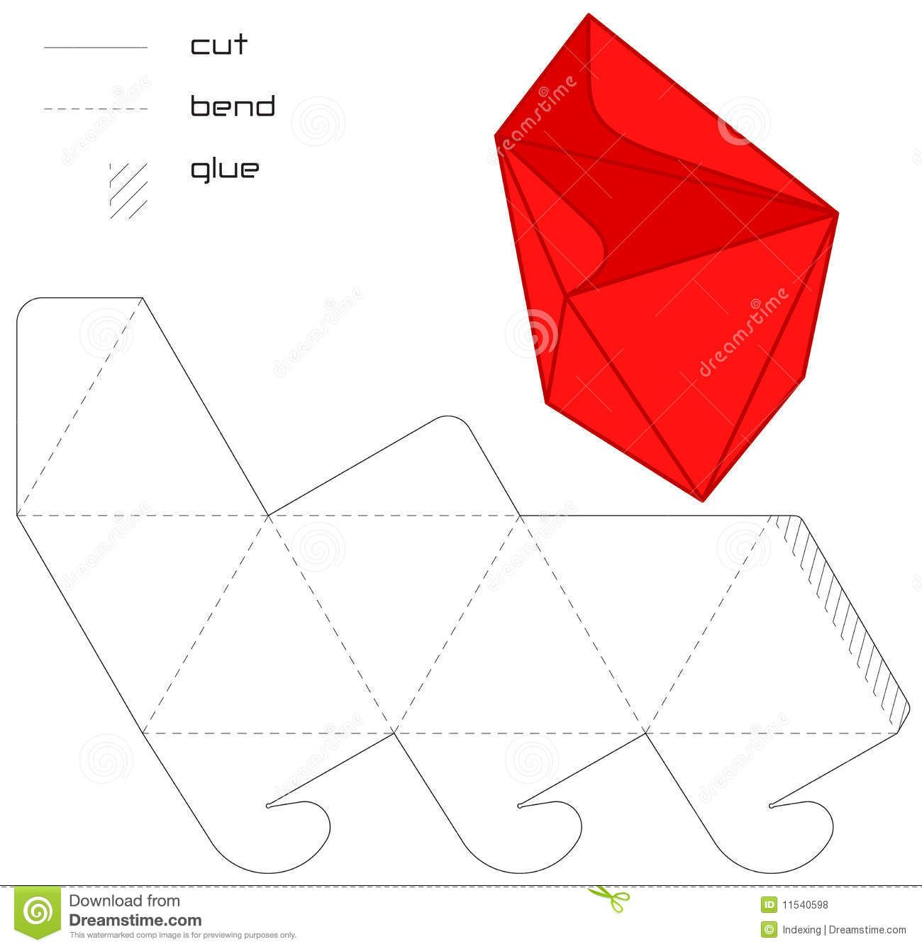 Template Present Box Red Hedra Cut Triangle - Download From Over 41 ...