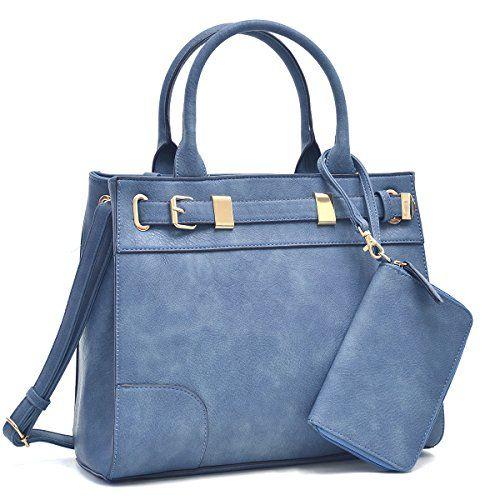 f66f30d1eb72 Dasein Women s Designer Belted Satchel Handbag Top Handle Purse Work Bag  Briefcase With Shoulder Strap Coin Purse (Navy)