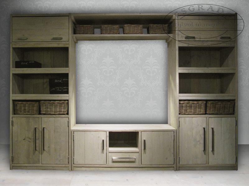 Speurders nl  steigerhouten wandmeubels boekenkasten maatkasten   steigerhout   Pinterest   Tv