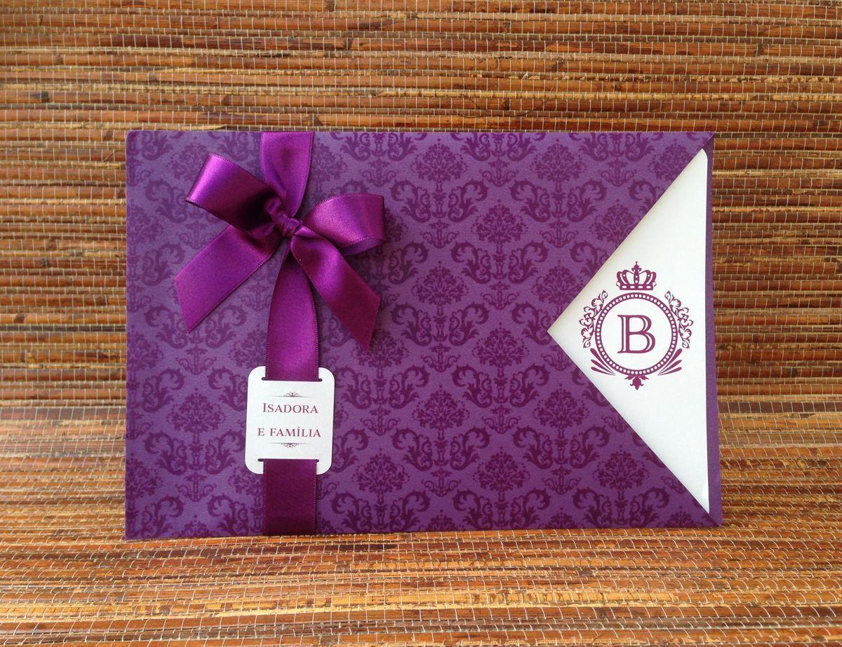 Convite De Aniversario De 15 Anos: Convite De 15 Anos Roxo Com Envelope