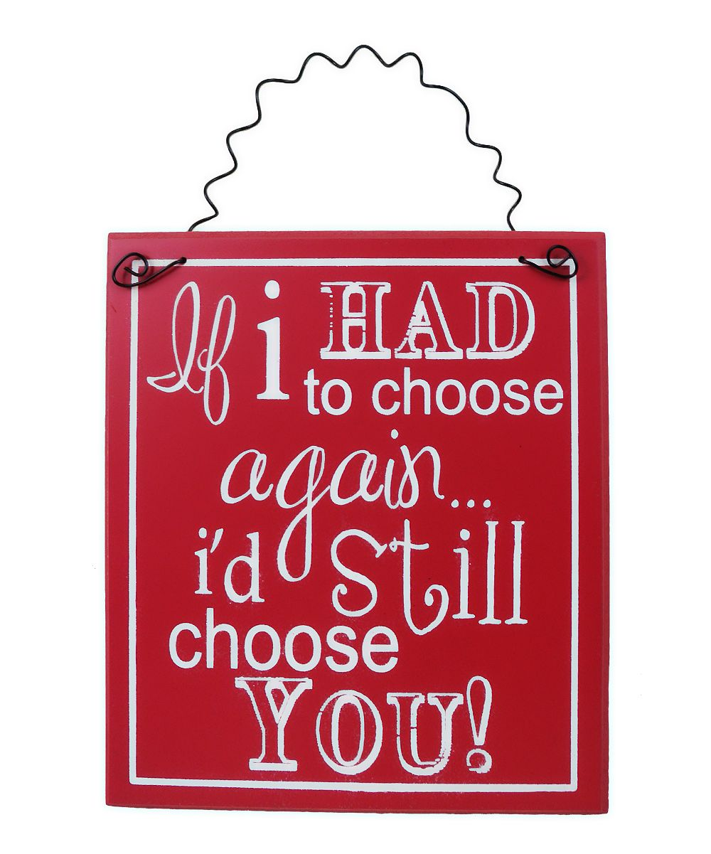 Red & White 'I Choose You' Wall Art