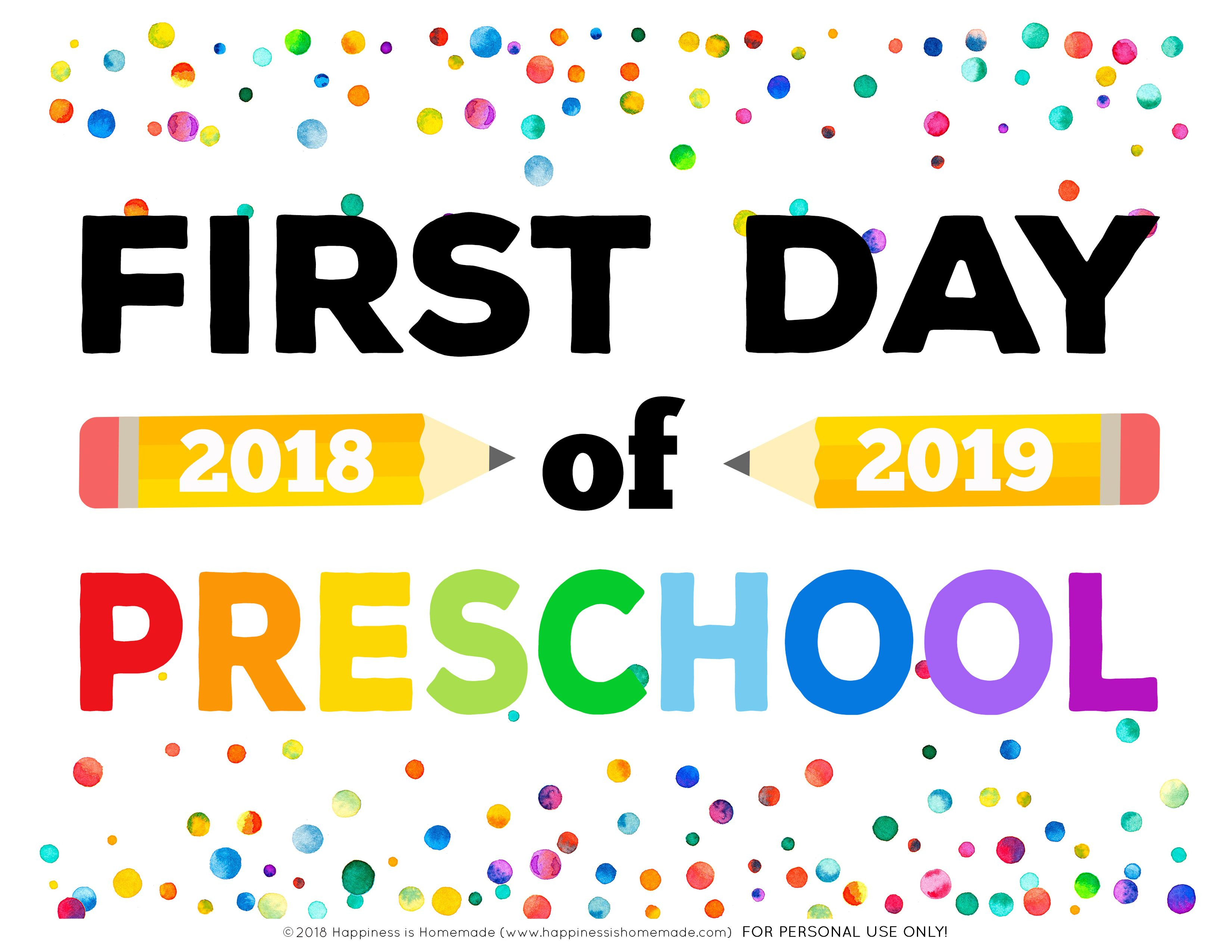 Massif image with first day of preschool sign free printable