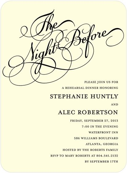 The Night Before Rehearsal Dinner Invitation Rehearsal Dinner Invitations Wedding Rehearsal Dinner Invitations Wedding Rehearsal Dinner