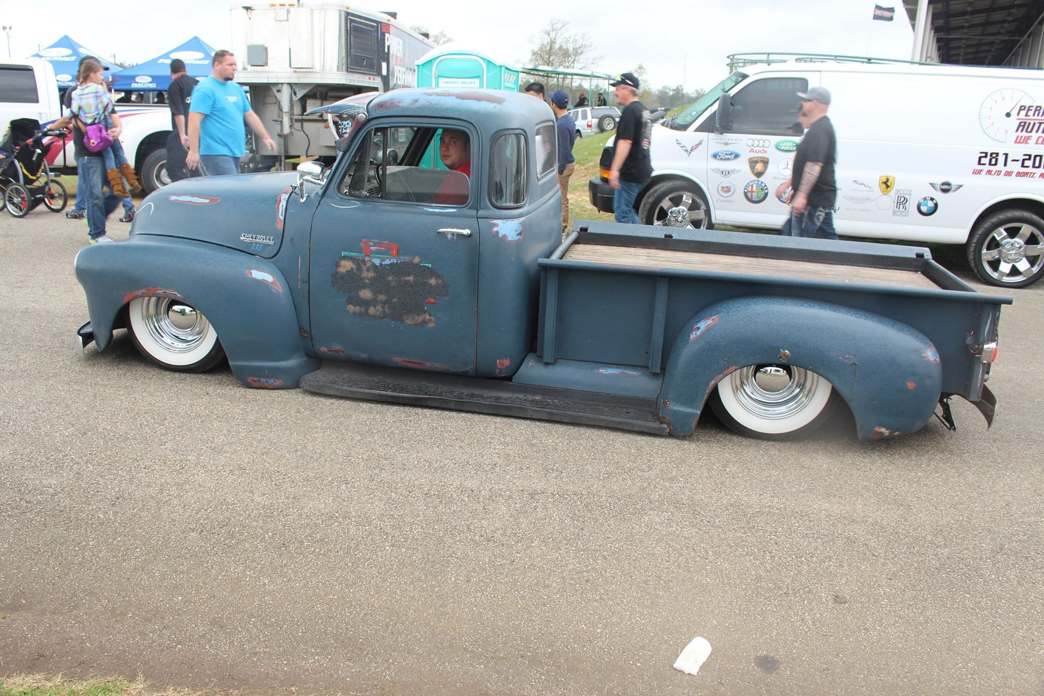 Chevrolet advance design five window pickup 1953 in a patina steal blue finish that looks like it might have been an old navy display truck