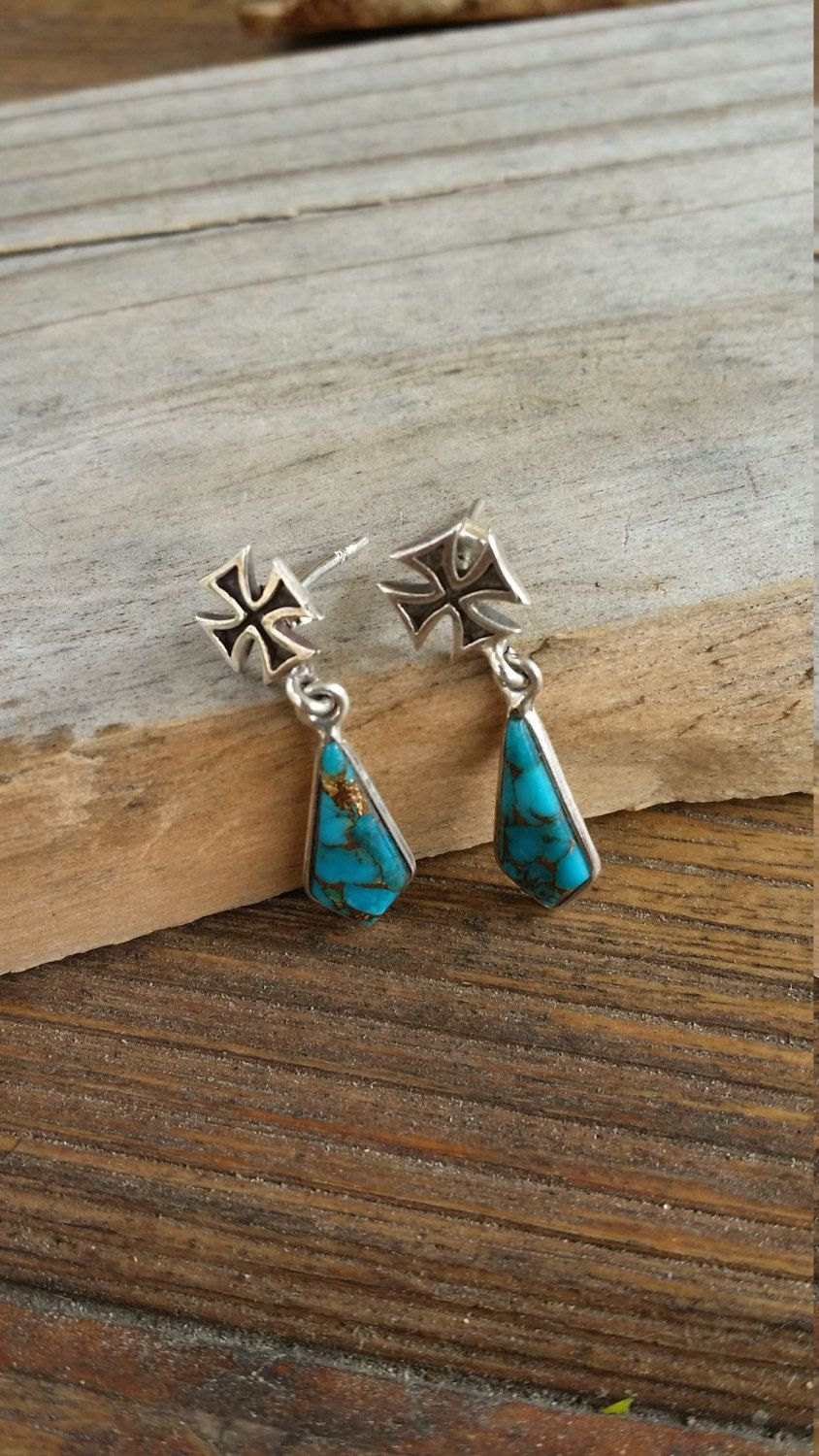 Maltese Cross Sterling Silver Turquoise Earrings Cross Dangle Religious  Gx770 By Andiesvintage On Etsy