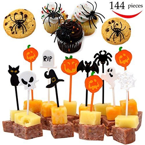 144 #Pieces #Halloween #Appetizer #Picks and #Spider #Ring #Cupcake - halloween party supplies