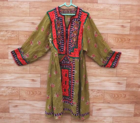 0d784d4ef6 Floral Design Hand Embroidered Baluchi Dress Handmade Bohemian Afghan Dress  Vintage Mirror Work Girl's Tunic Indian Banjara Women Top #301